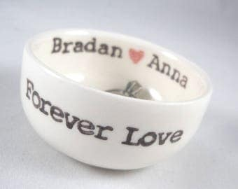 Personalized wedding ring holder engagement gift for bridal shower gift ceramic ring dish with red heart custom text gift for wife favors