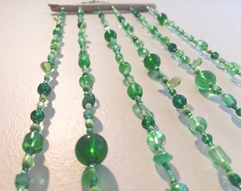 Lucky Green Beaded Hanging Mobile, Luck of the Irish Hanging Mobile, Wish Bone Hanging Mobile, Four Leaf Clover Hanging Mobile, Bead Mobile
