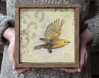 What if you Fly? Bird Art Print, Inspirational Gift Idea, Farmhouse Style Wall Decor with Optional Reclaimed Wood  Frame