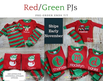 Pre-order - RED/GREEN APPLIQUE Christmas Pajamas - One Set - Baby, Toddler, or Child Jammies - PJs - Personalized