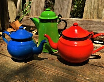 Vintage Enamel Teapot and Coffeepot Lot of 3 Small Red Blue Green England