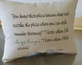 Baby memorial gift pillow miscarriage gift for mom throw pillow loss of baby gifts Peter Pan quote miscarriage keepsake sympathy gift ideas