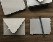 A2 Handmade Paper Envelopes, Warm Grey Cotton Deckle Edged Paper Sheets, Wedding Stationery Sets