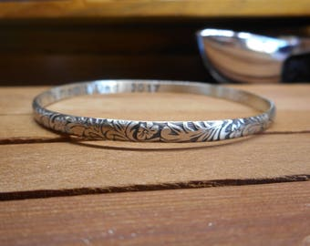 Solid Sterling Silver Floral Design Bangle Engraved Bracelet Custom Made in Your Size