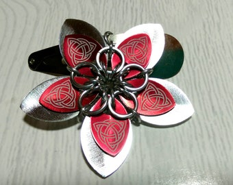 Silver and red Celtic hair flower