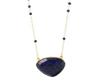Bezeled Lapis Slab Necklace