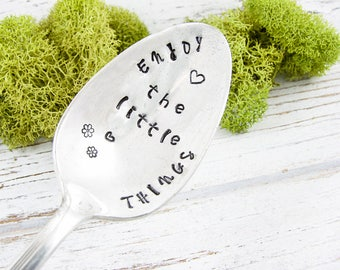 Stamped Spoon. Enjoy the Little Things. Coffee Lover Gift. Tea Lover Gift. Inspirational Quote. Birthday Gift for Her. 615SP