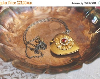 25% OFF SALE Romantic vintage styled brass heart locket with floral rhinestone design on front, long necklace, locket jewelry, Sweetly Ginny
