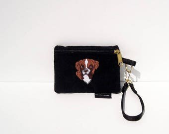 Natural Ear Boxer, Head 1, Dog Coin Purse