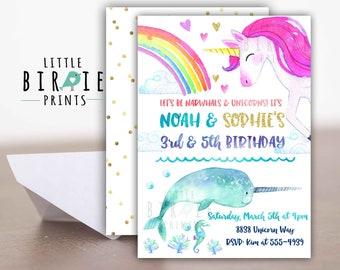Unicorn and Narwhal Invitation Unicorns and Narwhals Birthday Invitation Twins Boy Girl Sibling Dual Birthday Invitation Unicorns and