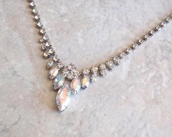 Marquise Rhinestone Necklace Aurora Borealis 18 Inch Fold Over Clasp Vintage V0427