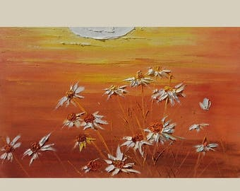 70% off ORIGINAL Oil Painting Honey Meadow 23 x 36 Palette Knife Colorful Big Orange Yellow White Flowers Daisies Wild Sun Orange  ART by Ma