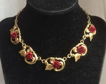 Beautiful Vintage 1950s Crimson Rose Link Necklace