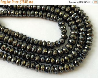 ON SALE 55% Black Pyrite Beads, Black Pyrite Faceted Rondelles, Pyrite Necklace, 6mm Beads, 7 Inch Strand, Pyrite Wholesale