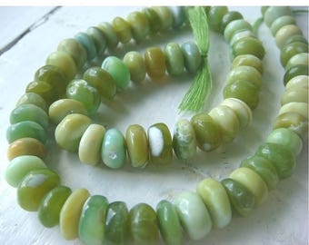 ON SALE 55% Opal - Green Opal Rondelles - 9mm Approx - 7 Inch Strand