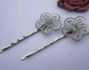 10 Bobby Pins, hair pins, filigree flower pins, Antique silver Hair bobby pins, 24mm filigree flower hair clips, metal hair pins