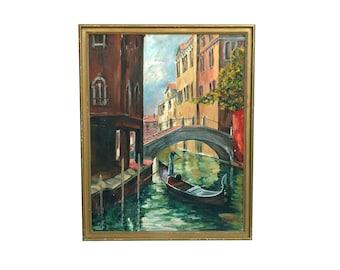 "Gorgeous Vintage Venice Signed Oil Painting 22"" x 28"" Canvas Board Framed Light Impasto Gondola on Canal Venezia Amelie 82"