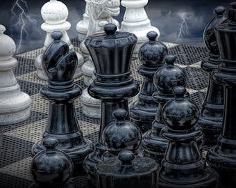 Game Chemistry of Chess Piece Set with Storm Clouds and Lightning No.44762 A Fine Art Surreal Photograph
