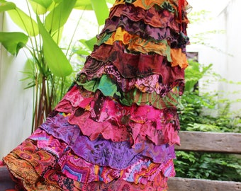 ARIEL on EARTH - Patchwork Floral Printed Cotton Ruffle Tiered Skirt - SH1709-01