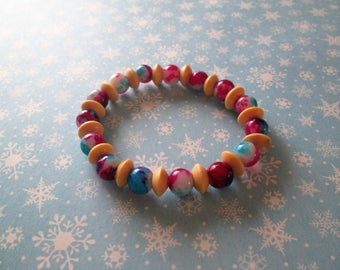 Beaded bracelet, glass and wood beads, colors as shown
