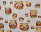 ON SALE SPECIAL--Avocado and Pumpkin Fun Owl Print Pure Cotton Fabric from Dear Stella-One Yard