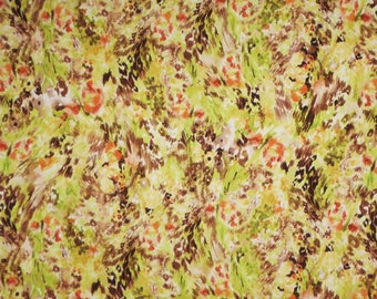 Green Brown and Orange Allover Abstract Print Stretch Cotton Sateen Fabric--By the Yard