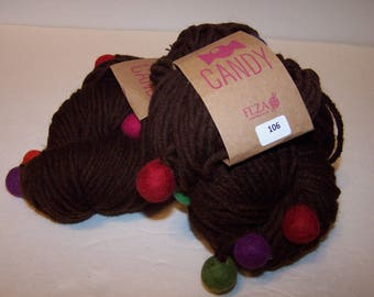 2 matching skeins Candy from Feza in dark brown novelty pompom yarn