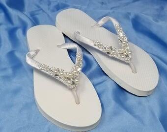 Sparkling White Bridal Flip Flops - White Flip Flops with Pearls and Rhinestones Bridal Flip Flops Beach Wedding Sandals Bridal Sandals