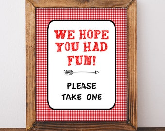 We Hope You Had Fun Please Take One Shower Sign, Red BBQ Baby Shower Favor Sign, 2 Sizes, Barbecue, diy Printable, INSTANT DOWNLOAD