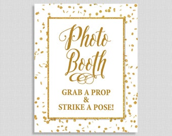 Photo Booth Sign, White & Gold Glitter Confetti Shower Sign, Wedding, Bridal Shower Sign, 2 Sizes, DIY Printable, INSTANT DOWNLOAD