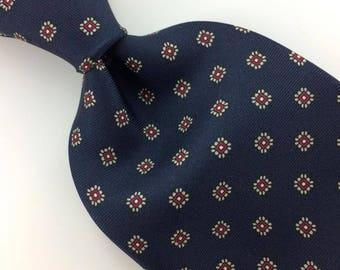 Vintage Bert Pulitzer Usa Tie Geometric/Floral Silk Navy/Blue Necktie  I10-180 Excellent Corbata Krawatte Cravatta Cravate
