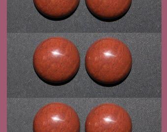 RED JASPER  (33709) * * * PACK (6 Gems) Brick Red 12mm Calibrated  Flat Bottom - Cab / Cabochons