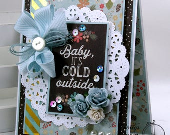 Baby it's Cold Outside Christmas Greeting Card Polly's Paper Studio Handmade