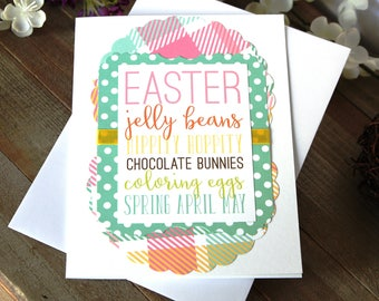 Handmade Easter Card, Easter Jelly Beans, Spring, Chocolate Bunnies, Blank Inside, Free US Shipping, Unique, One of a Kind