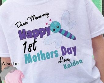 FLASH SALE Happy 1st Mothers Day Shirt with cute DragonFly - First Mothers Day Shirt - Personalized mothers day shirt - mothers day - Cute D