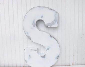 ON SALE Large Metal Letter / Decorative Letter / Capital Letter / Large Letter S / Shabby Chic Letter / Rustic Letter