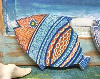 Orange Fish Art Painted Wall Sign Beach House Decor Coastal Nautical Decor by CastawaysHall ONE Large Fish