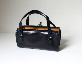 1950s Navy Leather Handbag // 50s Vintage Rectangular Top Handle Box Purse // Ronay