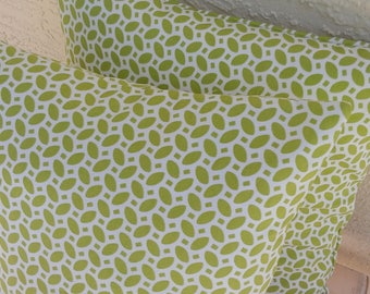 """Designer  Accent Pillow Cover, mini leaf design, 18 x 18 inch, Kaufmann """"Little Hipster"""" outdoor fabric, pistachio  on  white"""