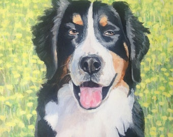 Pet Art Portrait Burmese Mountain Dog Custom