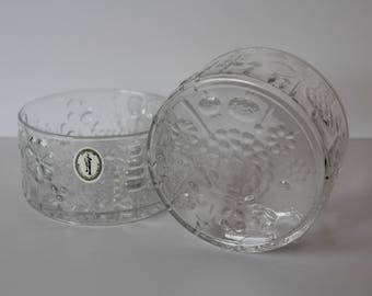 Two Vintage Italglass Salad/Serving Bowls Clear Glass Floral Design