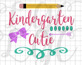 Kindergarten Cutie Iron On Transfer, Physical Item WILL be shipped to you-Choose any grade level PreK-5