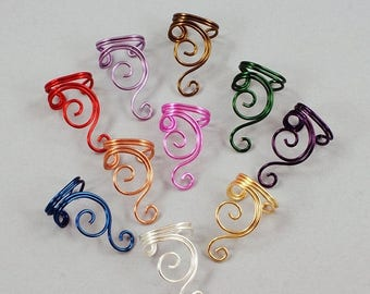 SALE - Ear Cuff - Double Spiral - Gold, Silver, Copper, Brass, Red, Magenta, Purple or Green