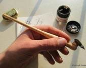 Left-Handed Oblique Dip Pen With Nib - Pine Hand Turned Pen Holder