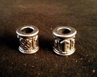 Viking Rune Tyr Knotwork Beard Bead Craft Bead Silver 1 pair