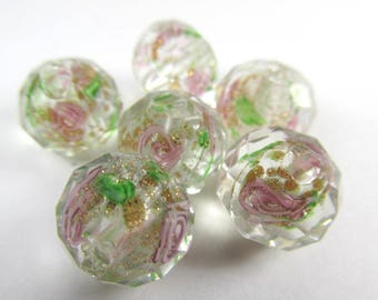 6 Clear Pink and Green Champagne 12mm x 8mm Rose Lampwork Glass Faceted Rondelle Jewelry Beads