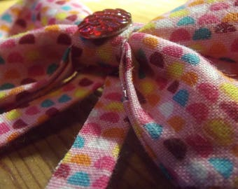 Pink Half Circle Patterned Mermaid Dragon Scale Hair Bow Accessory Hair Clip Barrette