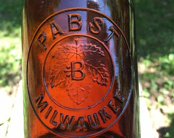PABST *B* Milwaukee Amber Slug Plate Squat Blob Top Beer Bottle Hop Leaf 1890, Vintage Bottle Collector, Antique Bottle, Pennsylvania