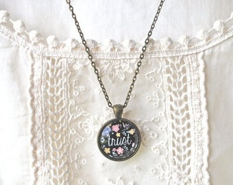 BIRTHDAY SALE Trust Necklace - Trust Charm - Trust Pendant - Trust in the Journey - Inspirational Word Pendant - Mantra Pendant- Faith and T