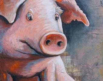 Pig Painting, title Oink – paper print MOUNTED to wood panel, modern farmhouse art, farm art